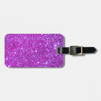 Pink Purple Sparkly Glam Glitter Designer Luggage Tag