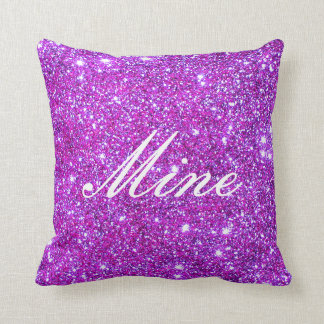 Pink Purple Sparkly Glam Glitter Designer Throw Pillow