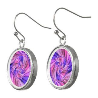 Pink & Purple Spiral Fractal Drop Earrings
