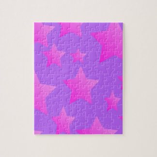 Pink/Purple Star Pattern Jigsaw Puzzle