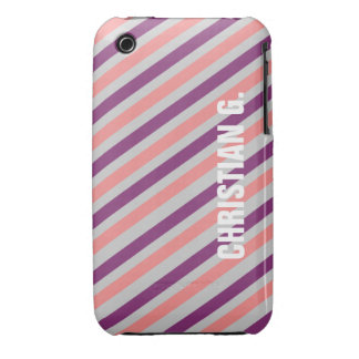 Pink purple stripe pattern custom name personal iPhone 3 Case-Mate cases