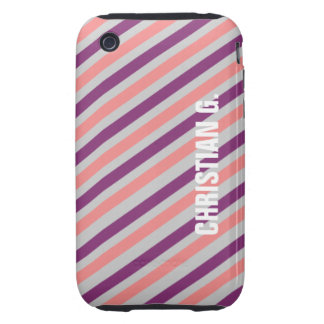 Pink purple stripe pattern custom name personal tough iPhone 3 cover