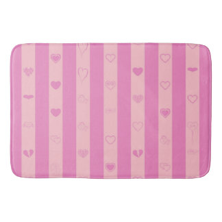 Pink Purple Stripes Modern Heart Pattern Bath Mat