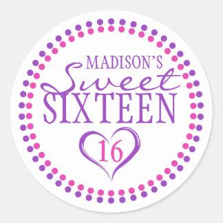 Pink Purple Sweet 16 Envelope Seal Sticker w Heart