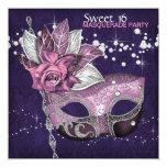 Pink Purple Sweet 16 Masquerade Party 13 Cm X 13 Cm Square Invitation Card