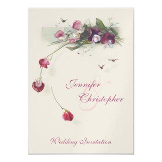 Pink purple sweetpea flowers wedding invitation