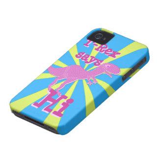 Pink Purple T-Rex says Hi iPhone 4/ 4S Case