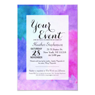 Pink, Purple, Teal, and Blue Watercolor Smudges 9 Cm X 13 Cm Invitation Card