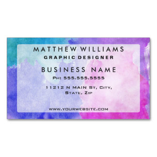 Pink, Purple, Teal, and Blue Watercolor Smudges Magnetic Business Card
