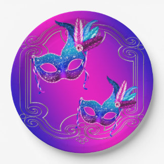 Pink Purple Teal Masquerade 9 Inch Paper Plate