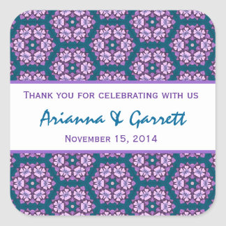 Pink Purple Teal Pattern Wedding Thank You 004F Stickers