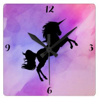 Pink Purple Textured Unicorn Clock