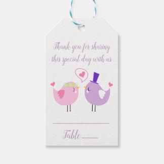 Pink Purple Thank You Lovebird Wedding Escort Card Gift Tags