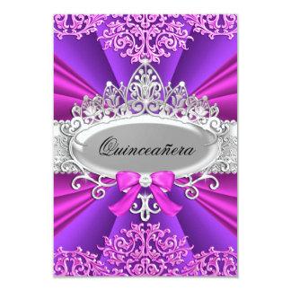 Pink/Purple Tiara & Damask Quinceanera Invite