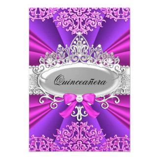 Pink Purple Tiara Damask Quinceanera Invite Invitations
