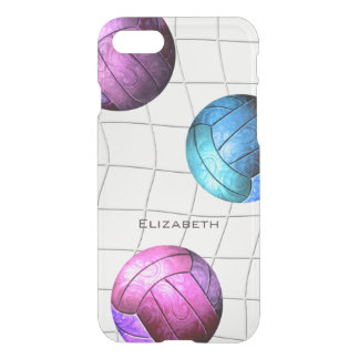 pink purple turquoise volleyballs and net iPhone 8/7 case