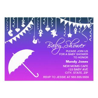 Pink purple umbrella modern baby shower invitation