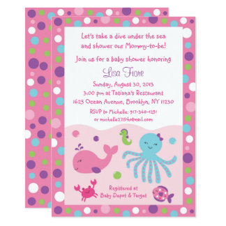 Pink & Purple Under the Sea Baby Shower Card