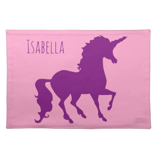 Pink Purple Unicorn Silhouette Girls Personalised Placemat
