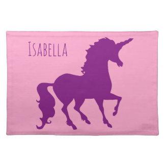Pink Purple Unicorn Silhouette Girls Personalized Placemat