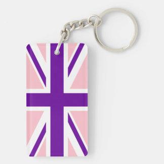 Pink Purple Union Jack Key Ring