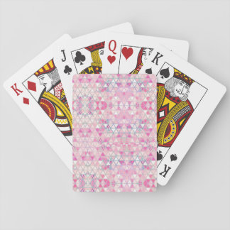 Pink purple watercolor pastel triangles pattern playing cards