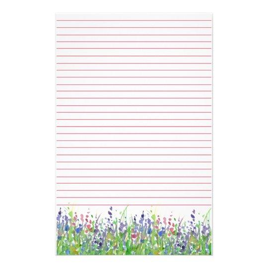 Pink Purple Watercolor Wildflowers Lined Custom Stationery