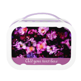 Pink Purple Wild Roses Abstract Painterly Montage Lunch Box