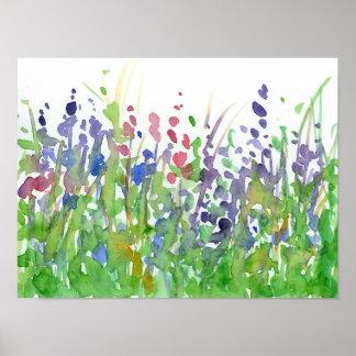 Pink Purple Wildflower Meadow Watercolor Poster