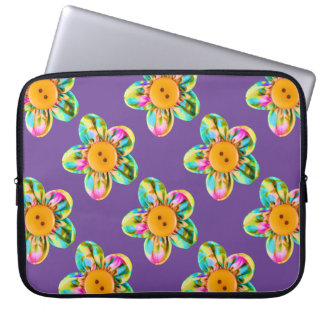 Pink, purple, yellow flowers on dark violet laptop computer sleeves