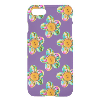 Pink, purple, yellow flowers on purple iPhone 7 case