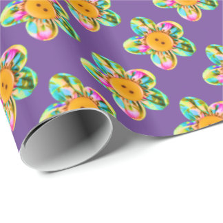 Pink, purple, yellow flowers on purple wrapping paper