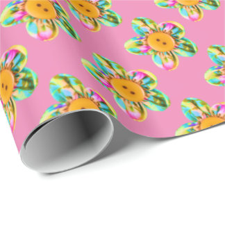 Pink, purple, yellow flowers on soft pink wrapping paper
