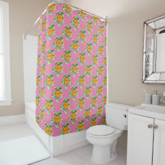 Pink, purple, yellow flowers shower curtain