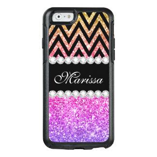 Pink Purple Yellow Gold Glitter Cool Black Chevron OtterBox iPhone 6/6s Case