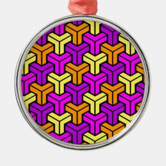 Pink, Purple, Yellow, Orange Geometric Pattern Christmas Ornament