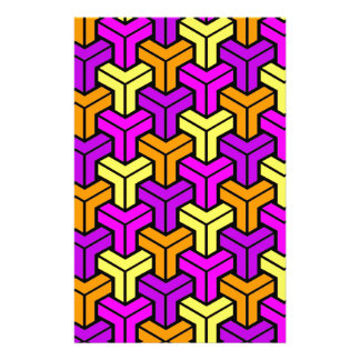 Pink, Purple, Yellow, Orange Geometric Pattern Stationery