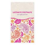 Pink Purple & Yellow Paisley Ham Pattern Design Business Card Template