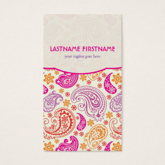 Pink Purple & Yellow Paisley Ham Pattern Design Business Card
