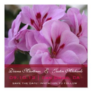 "Pink  PurpleFlora Flowers Save the Date 5.25"" Square Invitation Card"