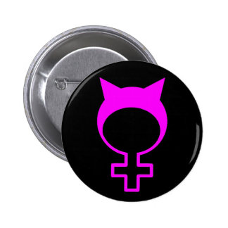 Pink pussy hat 6 cm round badge