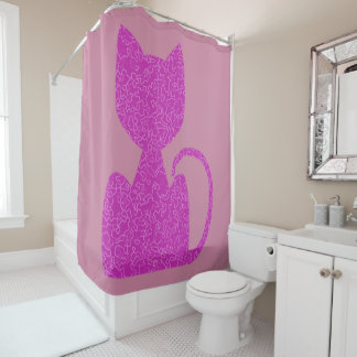 Pink Puzzled Cat Shower Curtains