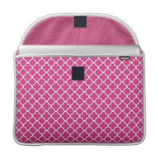 Pink Quatrefoil Clover Pattern Sleeves For MacBook Pro