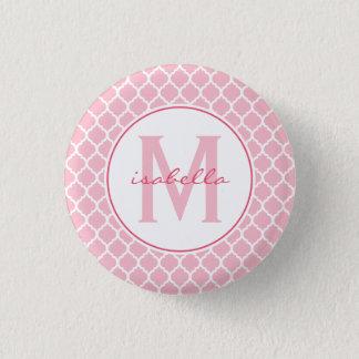 Pink Quatrefoil Monogram 3 Cm Round Badge