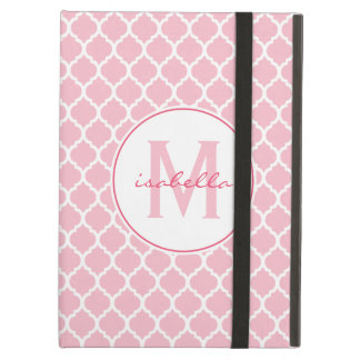 Pink Quatrefoil Monogram Cover For iPad Air