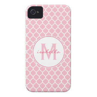 Pink Quatrefoil Monogram iPhone 4 Case