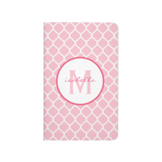 Pink Quatrefoil Monogram Journal