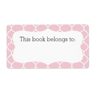 "Pink Quatrefoil ""This Book Belongs To"" Labels"