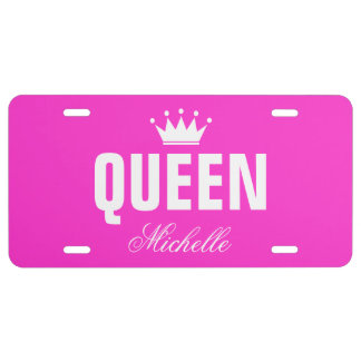 Pink queen license plate with personalized name license plate