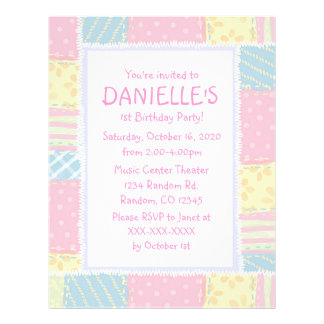 Pink quilt girls theme birthday party invitations 21.5 cm x 28 cm flyer
